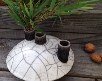 White and black raku vase
