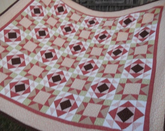 Garden Path Quilt Hand Quilted OverSized Queen was 300.00 On Sale Now