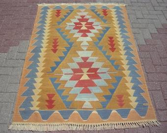 "Anatolian Rare Vintage Turkish Rug, Small Rug, Turkey Rug, Kilim Rug, Aztec Rug, Small Kilim, 69,3"" x 47,2"", Boho Rug, Oushak Rug, Floor Rug"