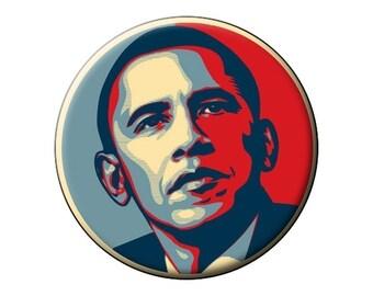 """OBAMA-HOPE Pin or Magnet- President Barack Obama Portrait - 2.25"""" Round Flat-Backed Fridge Magnet or 2.25"""" Pinback Button or Badge"""