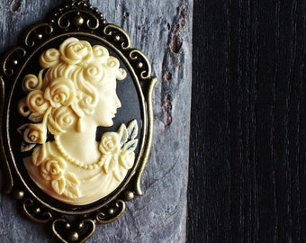 Black cameo necklace, cameo necklace, cameo pendant, cameo jewelry, long necklace, cameo jewelry, holiday gift ideas, gift ideas for mom