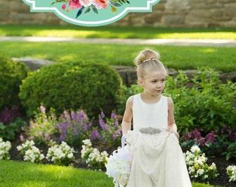 Ivory Flower Girl Dress, FREE SHIPPING Rhinestone Sash, Custom Made in the USA by Mia Loren Boutique