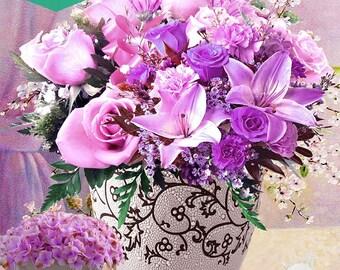 5D DIY Diamond Embroidery,5D Diamond painting,Diamonds mosaic Violet Flower Wedding full rhinestone cross stitch,Christmas,decor