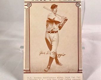 Joe DiMaggio Exhibit Card, Baseball's Great Hall of Fame series.  Printed in 1977 as part of 32 card set, in nice cond.  5 3/8 by 3 3/8ths