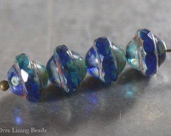 Deep Blue Saturn (10) - Czech Glass Bead - 8x10mm - Faceted Saucer