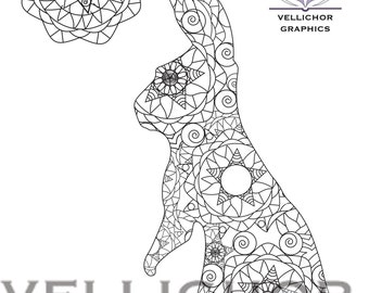 INSTANT DOWNLOAD Printable Easter Coloring Page Adult Book Bunny Game Doodle Kids