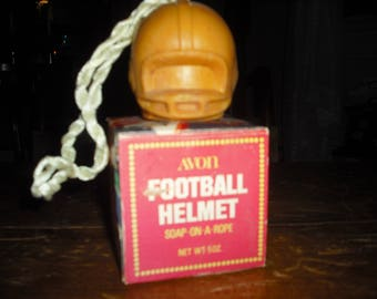 Avon's Football Helmet soap on a rope will get you ready for the game.