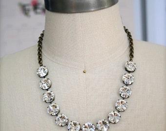 Swarovski Crystal Necklace, 14mm Rivoli Necklace, Rivoli Necklace, Crystal Necklace, Bridal Necklace, Bridesmaid Necklace