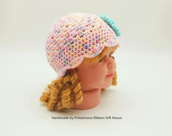 Crochet Interchangeable Flower Baby Hat/ Baby Summer Hat/ Candy Pink Baby Hat (0-3 Month)