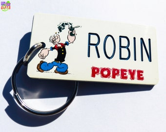 Personalized Popeye Keychain Tag - Vintage Cartoon - Machine Engraved - Collectible - Birthday Party Favors - Kids Backpack Tag - Giveaway