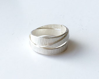 Silver wrap ring for men - textured silver with burnished edges - non tradition wedding ring - alternative wedding band - 2
