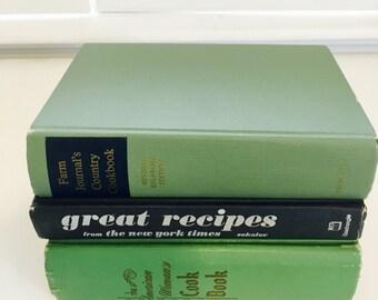 Vintage Cookbook Set, Green, Navy Blue, Book Stack, Colorful Cookbooks