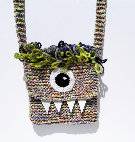 Silly Cyclops Hand Knit Bag - Purple and Green