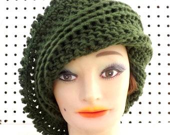 Crochet Hat Womens Hat, Steampunk Hat, Crochet Beanie Hat for Women, Dark Olive Green Hat, African Hat, Lisa Beanie Crochet Hat for Women