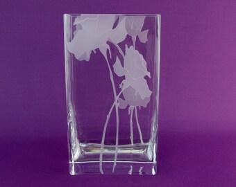 Rectangular Heavy Frosted White Floral Glass Vase by Nobile Vintage Polish