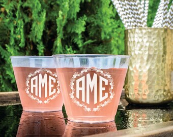 Personalized Wreath Monogram Cups, Custom Monogrammed Event Cups, Disposable Plastic Drink Cups, Printed Party Cups, Custom Wedding Cups