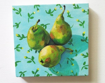 Still life of pears and flowers / Tiny canvas print -FOLK ART PRINT -blue yellow green Colors - canvas art print - Kitchen decor