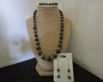 Dark Grey  Necklace & Earrings, Bracelet Set