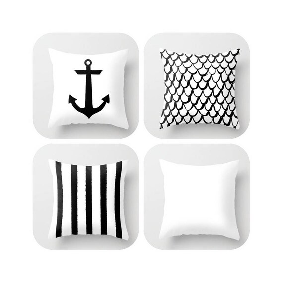 OUTDOOR Throw Pillow . Black & White Mermaid Pillow . Coastal Patio Cushion . Anchor Pillow . Outside Stripe Pillow . 16 18 20 inch Bolster