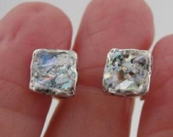 New Israel Handmade Classy 925 Sterling Silver Roman Glass Square Earrings (AS