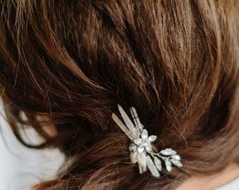 HUCKLEBERRY quartz leaves boho bridal comb, sparkly wedding hairpiece
