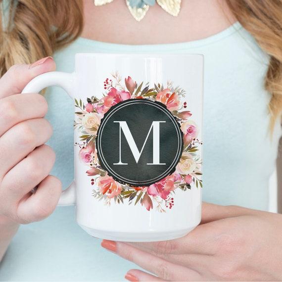 Floral Chalkboard Monogram Initial Coffee Mug - Single Initial Monogram - Initial Coffee Cup