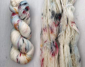 Hand dyed yarn, single ply yarn, yarn, knitting yarn, merino, speckled, colorful