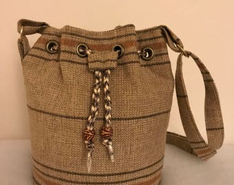 Burlap Bucket Bag/Brown Bag/Adjustable Strap/Pixie  Bag/African/Purse/African Bag/ Top Handle Bag/African Purse/Africa Fabric/Ladies