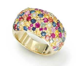 A ring called Pave of Sapphires, gold , diamonds , designer jewelry, women ,  gift for her, white gold ring, gems&semi-precious stones,