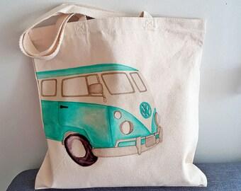 Handmade cotton bag westfalia, tote bag westfalia, shopping bag, tote bag, grocery bag, cotton bag, westfalia tote bag