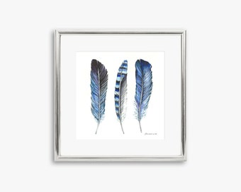 Watercolor Feather painting  Blue Feathers  Original painting  Feather painting in blue Feather artwork