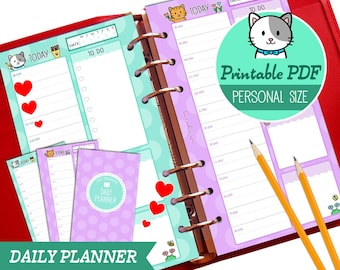 PRINTABLE Personal Size Daily Planner Cute Kawaii Kitty for Filofax Kikki.K Louis Vuitton Organizer Planner Instant Download