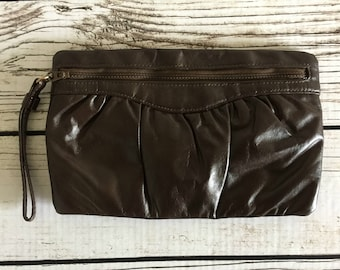 Dark Brown Faux Leather Vintage Letisse Clutch with Talon Zipper