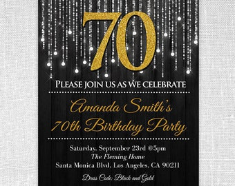 Black and Gold 70th birthday invitations . 70th birthday invitations templates. 70th milestone invitation.  Printed or Digital #GLP301_16