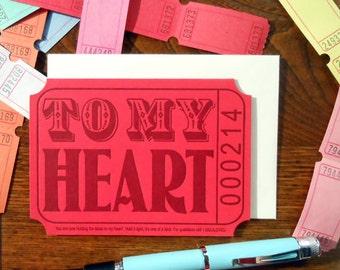 letterpress ticket to my heart love valentine greeting card red purple cream raffle carnival ticket