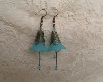 Flower earrings blue and copper
