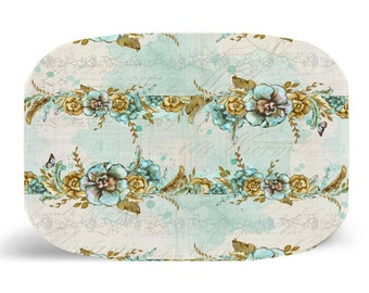 "Melamine Platter, Floral Gypsy Boho Melamine Platter, Dinner Plate, 10"" plate, Floral Shabby Chic, Floral Plate, Floral Boho, Floral Gypsy"