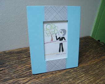 relouke blue and gray paper photo frame