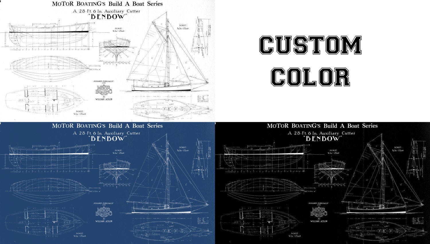 Print of vintage benbow boat blueprint from motor boatings build a print of vintage benbow boat blueprint from motor boatings build a boat series on your choice of matte paper photo paper or canvas malvernweather Image collections