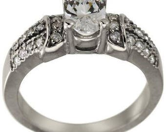 Diamond Engagement Ring 1 Carat Oval Center 14K White Gold Diamond Solitaire Ring