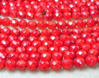 Red Coral faceted round beads 6mm,62 pcs