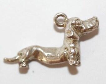 Vintage Dachshund Dog Sterling Silver Bracelet Charm / 3d Detail
