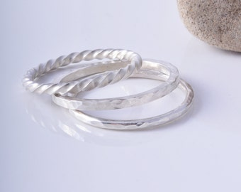 Sterling silver trio of mixed stacking rings ring handmade to order skinny stacking ring