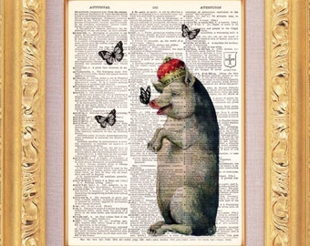 Fancy Pig And Butterflies - Vintage Dictionary Print Vintage Book Print Page Art Upcycled Vintage Book Art