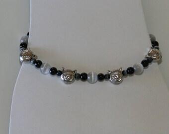 Silver Kitty Head Bracelet