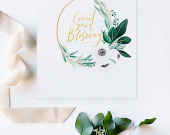 Beautiful Art Print A4 COUNT YOUR BLESSING Home Decor Gold Calligraphy