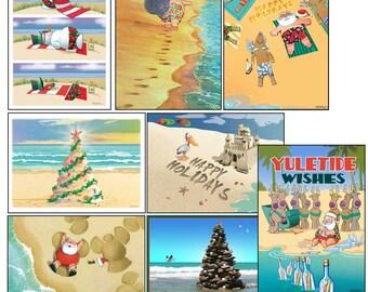Beach Christmas Card Variety Pack - 24 cards & envelopes - Assortment #2 - 90