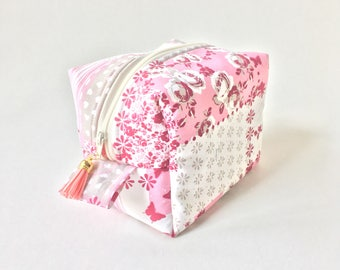 Pink box pouch perfect for your make up,zipper pouch,travel bag,cosmetic and toiletry pouch,zipper pouch,pencil case