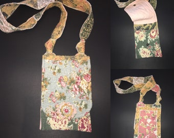 Crossbody upcycled bag/purse -one of a kind - artsy - boho - wearable art - recycled - repurposed -eco friendly