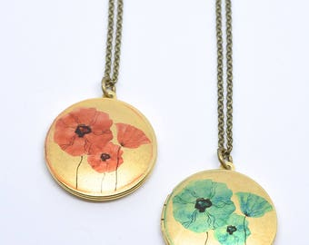 Long Necklace Boho Locket Flowers Gift Pendant Necklace Golden Jewelry Gift Antique Locket Necklace Limonbijoux Black Friday